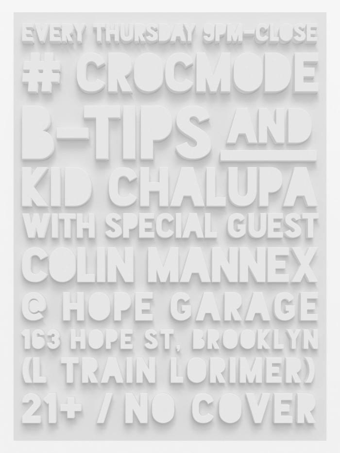 Crocmode Returns to Hope Garage! This and EVERY Thursday